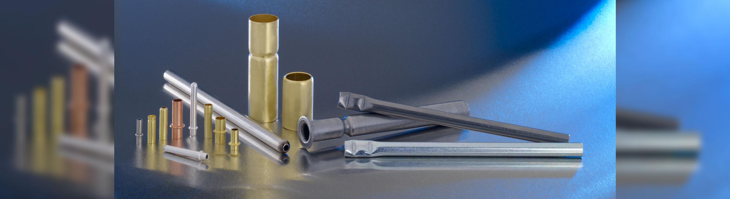 Rohrformteile wie zum Beispiel: Sickenröhrchen, Steckerstifte, Aufgeweitete Rohre, Eingezogene Rohre, Gestauchte Rohre, Rollierde Rohre, Geplättete Rohre